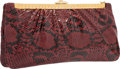 "Luxury Accessories:Bags, Judith Leiber Red Python Clutch Bag. Excellent Condition.11.25"" Width x 5.5"" Height x 2"" Depth. ..."