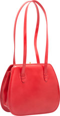 """Luxury Accessories:Bags, Judith Leiber Red Lather Shoulder Bag. Good to Very GoodCondition. 8.5"""" Width x 7"""" Height x 3"""" Depth. ..."""