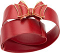 "Luxury Accessories:Accessories, Judith Leiber Red Karung Bow Belt. Very Good Condition.1.5"" Width x 31"" Length. ..."
