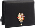 "Luxury Accessories:Bags, Judith Leiber Black Satin Floral Vase Evening Bag. Very Good toExcellent Condition. 6"" Width x 5"" Height x 2"" Depth..."
