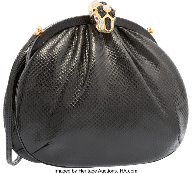 ... Luxury Accessories:Accessories, Judith Leiber Black Karung &  Crystal Panther Shoulder Bag withGold ...