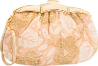 "Judith Leiber Beige Satin & Metallic Gold Lace Evening Bag Very Good Condition 9"" Width x 5"" Heig"