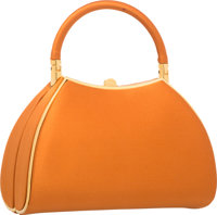 "Judith Leiber Orange Satin Evening Bag with Gold Hardware Good to Very Good Condition 7"" Width x"