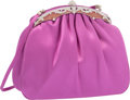 "Luxury Accessories:Accessories, Judith Leiber Fuschia Satin & Silver Crystal Evening Bag withSilver Hardware. Very Good to Excellent Condition. 7""Wi..."