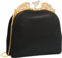 "Judith Leiber Black Satin Butterfly Frame Evening Bag Good Condition 7"" Width x 7"" Height x 1.5"""