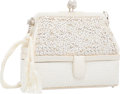 """Luxury Accessories:Accessories, Judith Leiber White Satin, Beaded & Crystal Evening Bag withSilver Hardware. Good to Very Good Condition. 6"""" Width x..."""