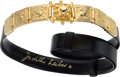 "Luxury Accessories:Accessories, Judith Leiber Black Lizard Belt with Gold Buckle. ExcellentCondition. 1"" Width x 36"" Length. ..."