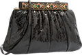 "Luxury Accessories:Bags, Judith Leiber Black Python Evening Bag. Very Good Condition.11"" Width x 7"" Height x 3"" Depth. ..."