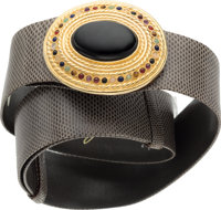 "Judith Leiber Gray Lizard Belt with Jeweled Buckle Very Good to Excellent Condition 1.5"" Width x"