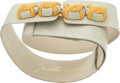 "Judith Leiber Mint Lizard Belt with Gold Buckle Very Good Condition 1.5"" Width x 36"" Length</"