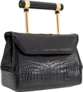 "Luxury Accessories:Bags, Judith Leiber Black Alligator Top Handle Bag. Very GoodCondition. 8"" Width x 5.5"" Height x 3.5"" Depth. ..."