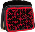 """Luxury Accessories:Bags, Judith Leiber Black & Red Embroidered Velvet Evening Bag.Excellent Condition. 7"""" Width x 6.5"""" Height x 2""""Depth. ..."""