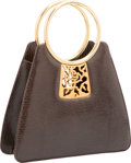 "Luxury Accessories:Bags, Judith Leiber Brown Lizard Tote Bag. Very Good Condition. 9"" Width x 8"" Height x 2.5"" Depth. ..."