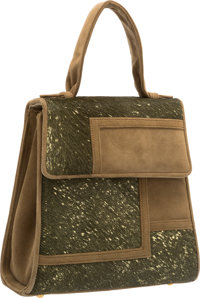 "Judith Leiber Green Ponyhair & Suede Top Handle Bag Excellent Condition 6"" Width x 7"" Height x 3"""