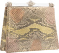 Luxury Accessories:Accessories, Judith Leiber Metallic Gold Python, Silver Crystal and Rose QuartzEvening Bag with Silver Hardware. Very Good Condition...