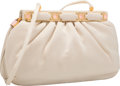 Luxury Accessories:Accessories, Judith Leiber Beige Satin, Silver Crystal, and Rose Quartz Bag withGold Hardware. Very Good to Excellent Condition. 9...