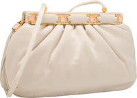 Judith Leiber Beige Satin, Silver Crystal, and Rose Quartz Bag with Gold Hardware Very Good to Excellent Condit
