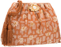 "Judith Leiber Brown Floral Silk & Sequin Evening Bag Excellent Condition 8"" Width x 6"" Height x 2"