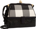 "Luxury Accessories:Accessories, Judith Leiber Black & White Plaid, Satin and Crystal EveningBag with Gold Hardware. Very Good Condition. 6"" Width x5..."