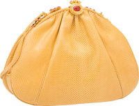 "Judith Leiber Yellow Karung & Carnelian Shoulder Bag with Gold Hardware Very Good Condition 9"" Wi"