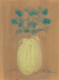 Fine Art - Work on Paper:Drawing, Sybil Gibson (American, 1908-1995). Floral Still Life.Crayon on brown paper. 15 x 11 inches (38.1 x 27.9 cm) (sight).S...