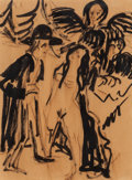 Fine Art - Work on Paper:Drawing, Ernst Ludwig Kirchner (1880-1938). Mann mit Engel und Akt (Manwith Angel and Nude), circa 1936, and Sitzender Fra...