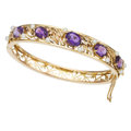 Estate Jewelry:Bracelets, Amethyst, Cultured Pearl, Gold Bracelet. ...