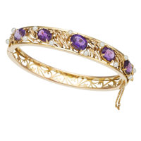 Amethyst, Cultured Pearl, Gold Bracelet