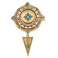 Estate Jewelry:Brooches - Pins, Victorian Turquoise, Seed Pearl, Gold Pendant-Brooch. ...