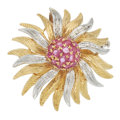 Ruby, Diamond, Gold Brooch