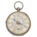 Timepieces:Pocket (pre 1900) , Swiss Fancy Dial Silver Lever Fusee. ...