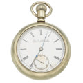 Timepieces:Pocket (pre 1900) , Elgin 18 Size, Damaskeened Nickel Movement. ...