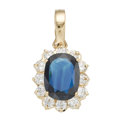 Estate Jewelry:Pendants and Lockets, Sapphire, Cubic Zirconia, Gold Pendant. ...