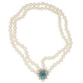 Estate Jewelry:Pearls, Cultured Pearl, Diamond, Aquamarine, Gold Necklace. ...