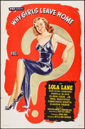 """Movie Posters:Exploitation, Why Girls Leave Home (PRC, 1945). One Sheet (27"""" X 41"""").Exploitation.. ..."""