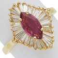 Synthetic Ruby, Diamond, Gold Ring