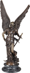 Sculpture, Continental School (20th Century). Archangel Michael. Bronze with brown patina. 34 inches (86.4 cm) on a 3-1/2 inches ...