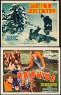 """Movie Posters:Western, Rawhide & Other Lot (Guaranteed, R-1940s). Title Lobby Card (11"""" X 14"""") & Trimmed Title Lobby Card (10.75"""" X 13.5""""). Western... (Total: 2 Items)"""