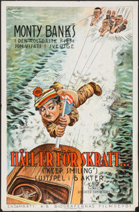 """Keep Smiling (Associated Exhibitors, 1925). Swedish One Sheet (25.5"""" X 39.25"""") Water skiing Style. Comedy"""