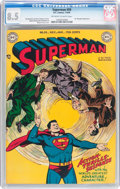 Golden Age (1938-1955):Superhero, Superman #59 (DC, 1949) CGC VF+ 8.5 Off-white to white pages....