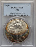 Modern Bullion Coins: , 1998 $1 Silver Eagle MS64 PCGS. PCGS Population (33/5300). NGC Census: (14/100250). Numismedia Wsl. Price for problem free...