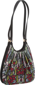 "Luxury Accessories:Bags, Judith Leiber Black Satin & Multicolor Crystal Shoulder Bag.Excellent Condition. 9"" Width x 7"" Height x 2.5""Depth..."