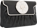 "Luxury Accessories:Accessories, Judith Leiber Black & White Karung Flower Clutch Bag . FairCondition. 8"" Width x 5"" Height x 1.5"" Depth. ..."