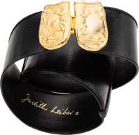 "Judith Leiber Black Karung Belt with Gold Hardware Very Good Condition 2"" Width x 34"" Length<"
