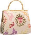 """Luxury Accessories:Bags, Judith Leiber Gray Embroidered Satin Top Handle Bag. Good toVery Good Condition. 7"""" Width x 5.5"""" Height x 3""""Depth..."""