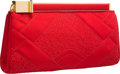 "Luxury Accessories:Accessories, Judith Leiber Red Embroidered Satin Clutch Bag with Gold Hardware.Very Good Condition. 9"" Width x 5.5"" Height x 1.5""..."
