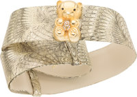 "Judith Leiber Metallic Gold Leather Teddy Bear Belt Very Good Condition 2"" Width x 32"" Length"