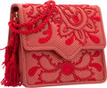 "Luxury Accessories:Accessories, Judith Leiber Red Embroidered Karung Shoulder Bag with GoldHardware. Very Good Condition. 5"" Width x 5"" Height x2.5""..."