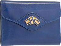 "Judith Leiber Blue Leather Bifold Wallet with Gold Hardware Very Good Condition 5"" Width x 4"" Hei"