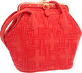 "Luxury Accessories:Accessories, Judith Leiber Red Embroider Leather Shoulder Bag. Very GoodCondition. 8"" Width x 6.5"" Height x 2"" Depth. ..."
